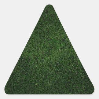 緑豊かな草の芝生 三角形シール