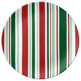 、緑赤い、モダンなクリスマス白のストライプ 磁器プレート