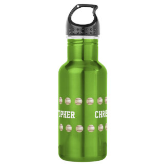 、緑野球名前入りな水差し ウォーターボトル