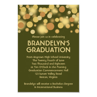 緑金ゴールドのお祝いの卒業の発表 カード