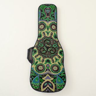 緑金ゴールドのケルト人のTriskeleの曼荼羅のギターの箱 ギターケース