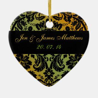 緑金ゴールドのダマスク織の結婚式の好意のオーナメント セラミックオーナメント