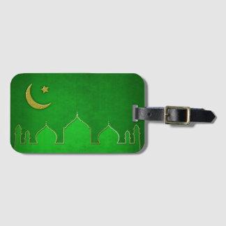 緑金ゴールドのモスクの月の星-荷物のラベル ラゲッジタグ