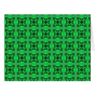 緑金ゴールドのモロッコの格子抽象芸術のダイヤモンドのキルト カード