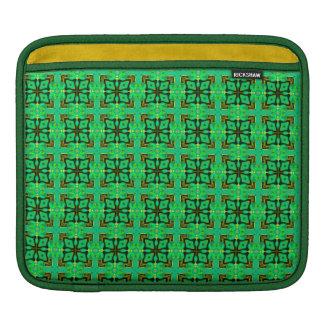 緑金ゴールドのモロッコの格子抽象芸術のダイヤモンドのキルト iPadスリーブ