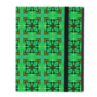 緑金ゴールドのモロッコの格子抽象芸術のダイヤモンドのキルト iPad ケース