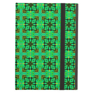 緑金ゴールドのモロッコの格子抽象芸術のダイヤモンドのキルト iPad AIRケース