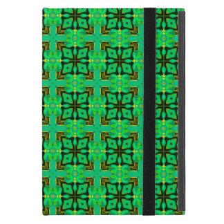 緑金ゴールドのモロッコの格子抽象芸術のダイヤモンドのキルト iPad MINI ケース