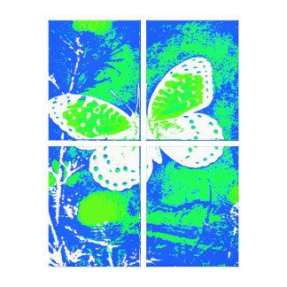 、緑青い、蝶-白い キャンバスプリント