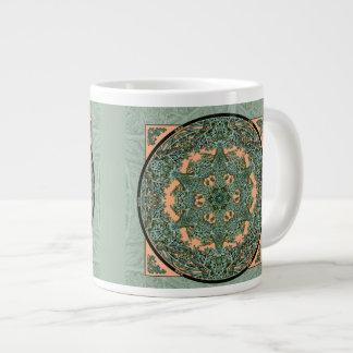 緑青の葉の曼荼羅のコーヒー・マグ ジャンボコーヒーマグカップ