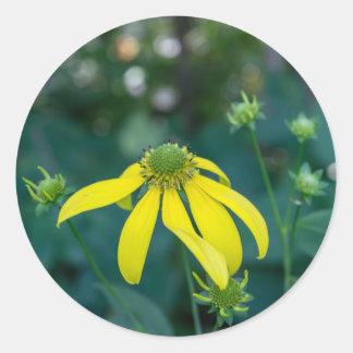 緑頭のConeflowerの黄色い野生の花のステッカー ラウンドシール