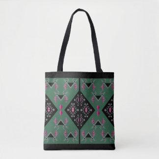 緑鳥およびブドウおよびピンクのkilimパターン トートバッグ