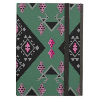 緑鳥およびブドウおよびピンクのkilimパターン iPad airケース