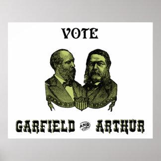 緑1880投票ガーフィールドおよびアーサー ポスター