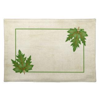 緑3の葉の秋季のテーマのランチョンマット ランチョンマット