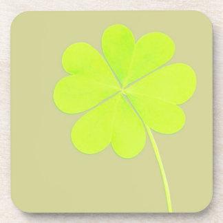 緑4の葉のクローバー コースター