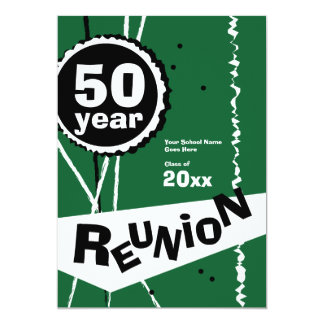 緑50年の同窓会の招待状 12.7 X 17.8 インビテーションカード