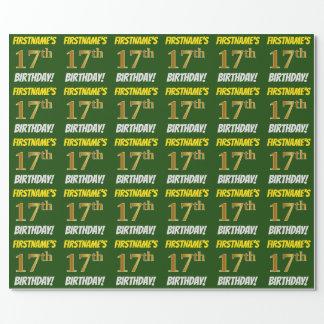 """緑、のどまたは模造金ゴールド、""""第17誕生日"""" ラッピングペーパー"""