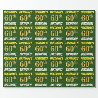 """緑、のどまたは模造金ゴールド、""""第60誕生日"""" ラッピングペーパー"""