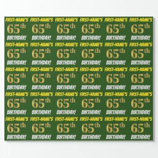 """緑、のどまたは模造金ゴールド、""""第65誕生日"""" ラッピングペーパー"""