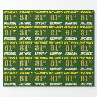 """緑、のどまたは模造金ゴールド、""""第81誕生日"""" ラッピングペーパー"""