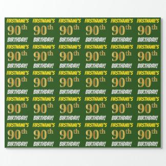 """緑、のどまたは模造金ゴールド、""""第90誕生日"""" ラッピングペーパー"""