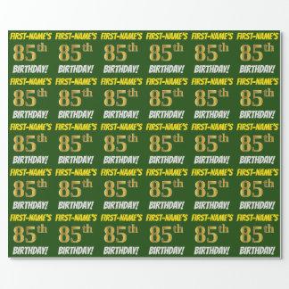 """緑、のどまたは模造金ゴールド、""""85th誕生日"""" ラッピングペーパー"""