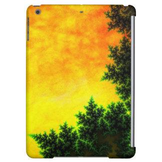 緑、オレンジ及び黄色のなだめるようなファンタジーの日没