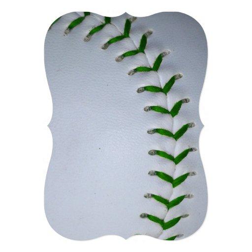 緑|ステッチ|野球|/|ソフトボール パーソナル案内状