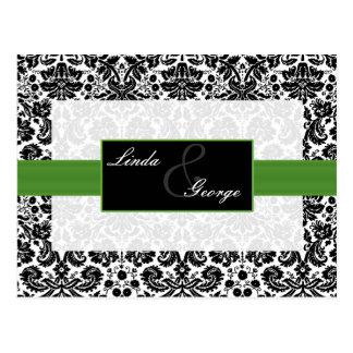緑|ダマスク織|結婚|rsvp|カード ポストカード