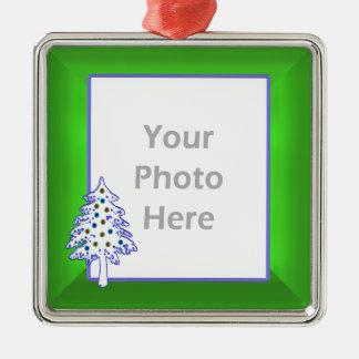 緑(写真フレーム)のクリスマスツリー メタルオーナメント