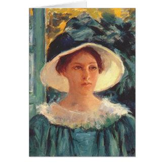 緑、日曜日c. 1914年のアウトドアの若い女性 カード