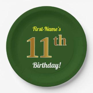 緑、模造のな金ゴールドの第11誕生日 + 名前をカスタムする ペーパープレート