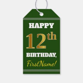緑、模造のな金ゴールドの第12誕生日 + 名前をカスタムする ギフトタグ