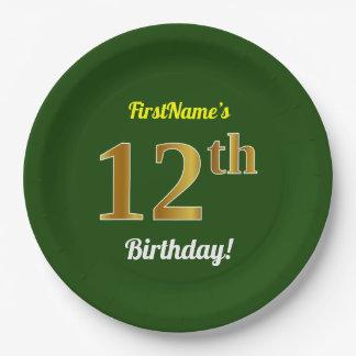 緑、模造のな金ゴールドの第12誕生日 + 名前をカスタムする ペーパープレート
