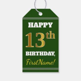 緑、模造のな金ゴールドの第13誕生日 + 名前をカスタムする ギフトタグ