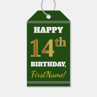 緑、模造のな金ゴールドの第14誕生日 + 名前をカスタムする ギフトタグ