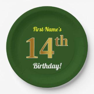 緑、模造のな金ゴールドの第14誕生日 + 名前をカスタムする ペーパープレート