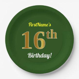 緑、模造のな金ゴールドの第16誕生日 + 名前をカスタムする ペーパープレート