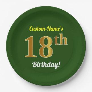 緑、模造のな金ゴールドの第18誕生日 + 名前をカスタムする ペーパープレート