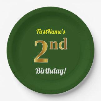 緑、模造のな金ゴールドの第2誕生日 + 名前をカスタムする ペーパープレート