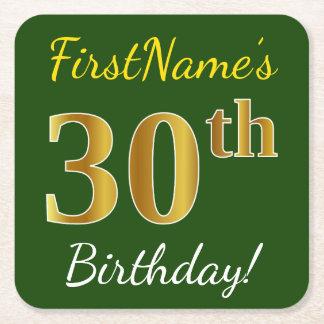 緑、模造のな金ゴールドの第30誕生日 + 名前をカスタムする スクエアペーパーコースター