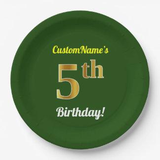 緑、模造のな金ゴールドの第5誕生日 + 名前をカスタムする ペーパープレート