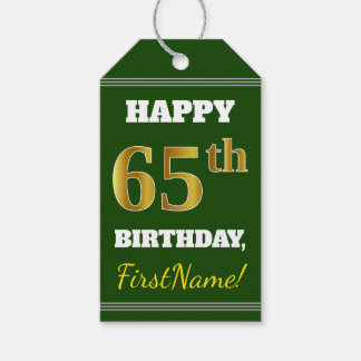 緑、模造のな金ゴールドの第65誕生日 + 名前をカスタムする ギフトタグ