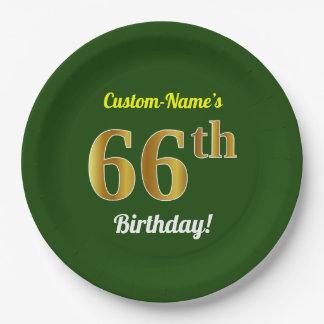 緑、模造のな金ゴールドの第66誕生日 + 名前をカスタムする ペーパープレート