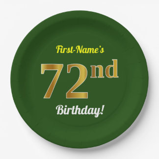 緑、模造のな金ゴールドの第72誕生日 + 名前をカスタムする ペーパープレート