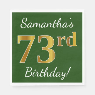緑、模造のな金ゴールドの第73誕生日 + 名前をカスタムする スタンダードランチョンナプキン