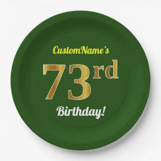 緑、模造のな金ゴールドの第73誕生日 + 名前をカスタムする ペーパープレート