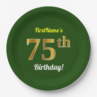 緑、模造のな金ゴールドの第75誕生日 + 名前をカスタムする ペーパープレート