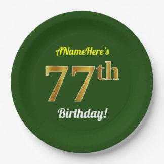 緑、模造のな金ゴールドの第77誕生日 + 名前をカスタムする ペーパープレート